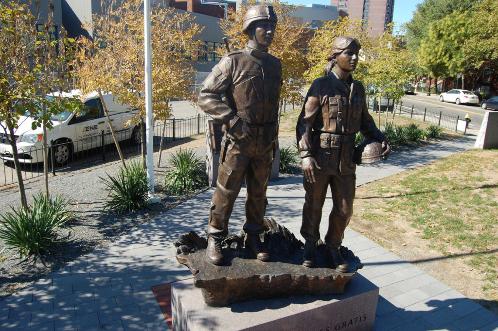 Puerto Rican Veterans Memorial by Robert Shure, 2013, in Boston's South End. (Greg Cook)