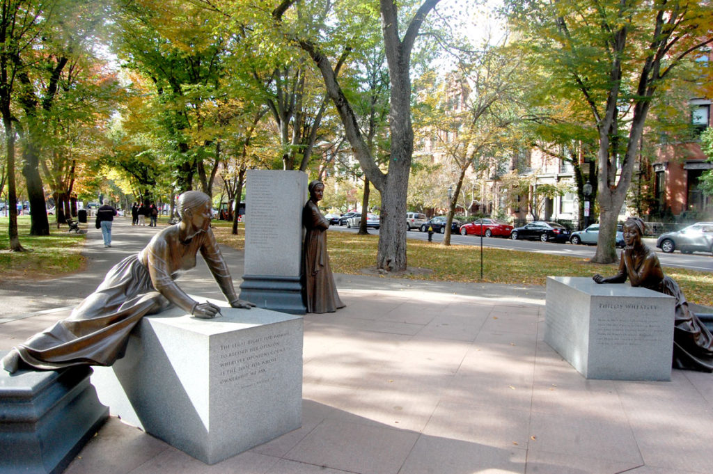 Boston Women's Memorial by Meredith Bergmann, 2003, on the Commonwealth Avenue Mall. (Greg Cook)