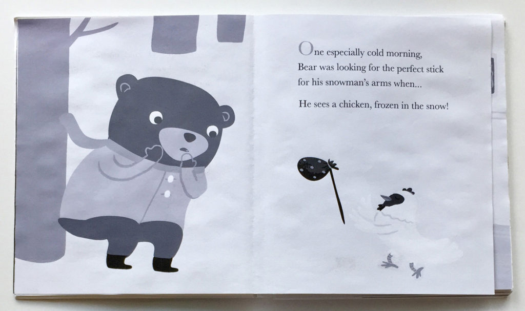 """Jannie Ho's grayscale dummy page from """"Bear and Chicken."""" (Courtesy of the artist)"""