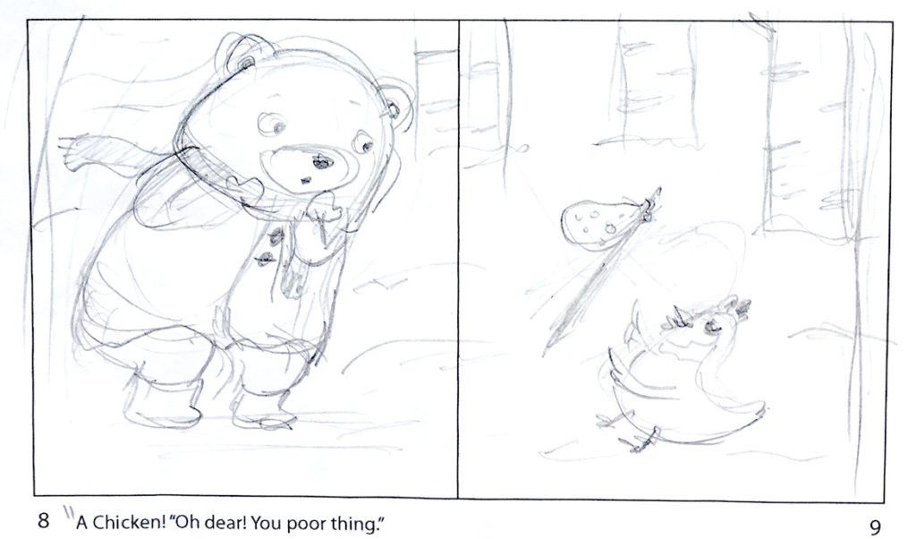 """Jannie Ho's pencil sketch for a page from """"Bear and Chicken."""" (Courtesy of the artist)"""