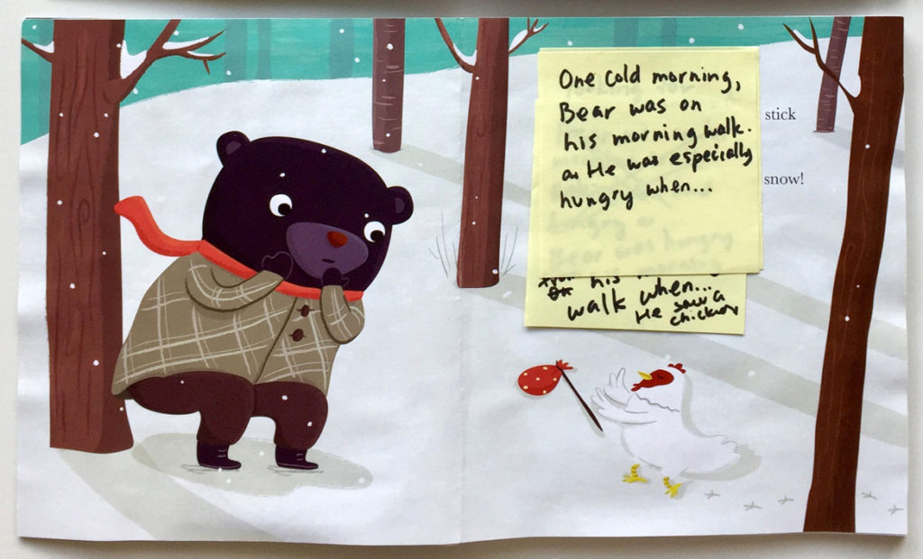 """Jannie Ho's color dummy page from """"Bear and Chicken."""" (Courtesy of the artist)"""