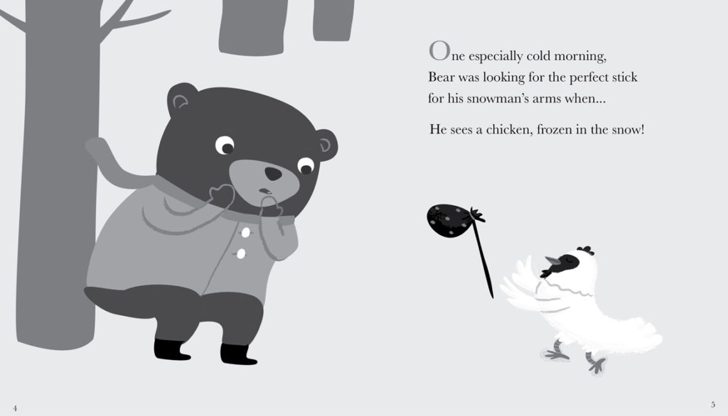 """Jannie Ho's grayscale Illustrator sketch for a page from """"Bear and Chicken."""" (Courtesy of the artist)"""