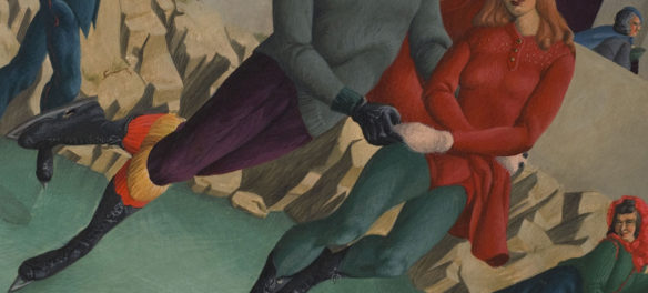 """Miriam Anne Barer, """"The Skaters (detail)"""" 1943, egg tempera on masonite. (Florence Griswold Museum)"""