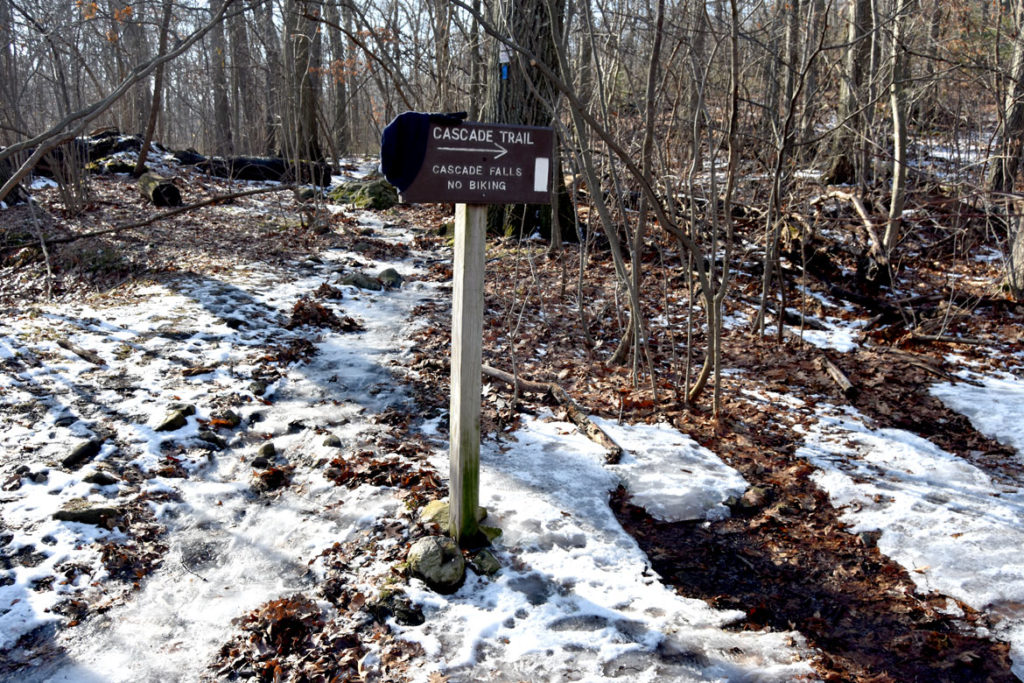 Cascade Trail sign in Middlesex Fells, Melrose, Jan. 21, 2018. (Greg Cook)