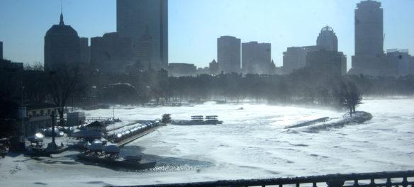 Boston skyline along the Charles River, Jan. 5, 2018. (Greg Cook)