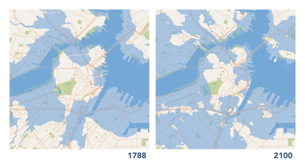 "Map of Boston's coastline in 1788 and what it might look like due to global warming in 2100. From Andi Sutton and Catherine D'Ignazio's ""Boston Coastline: Future Past"" project on view at the MIT Museum, Jan. 6, 2018. (Courtesy of the artists)"