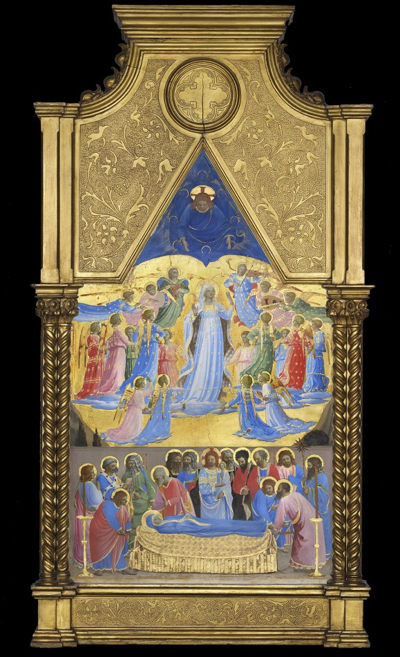 "Fra Angelico ""The Dormition and Assumption of the Virgin,"" 1424-1434, tempera with oil glazes and gold on panel. (Courtesy)"