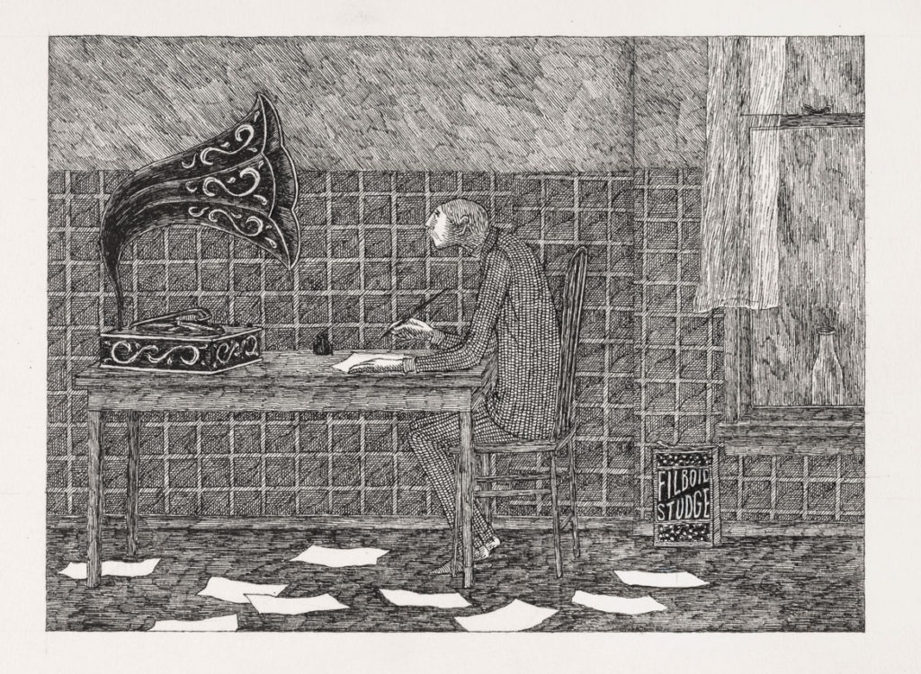"Edward Gorey, ""Without his clippings, Jasper now wrote long letters to Ortenzia, which went unanswered."" Illustration for ""The Blue Aspic,"" 1968. Pen and ink on paper. (The Edward Gorey Charitable Trust)"