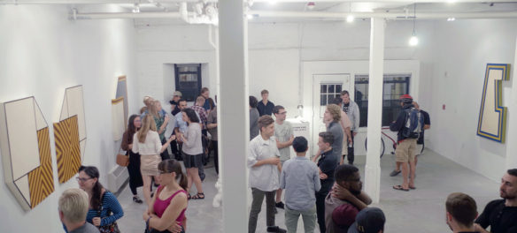 """Reception for Grin gallery's """"Paintings from the 1970s"""" exhibition in September 2015. (Grin)"""