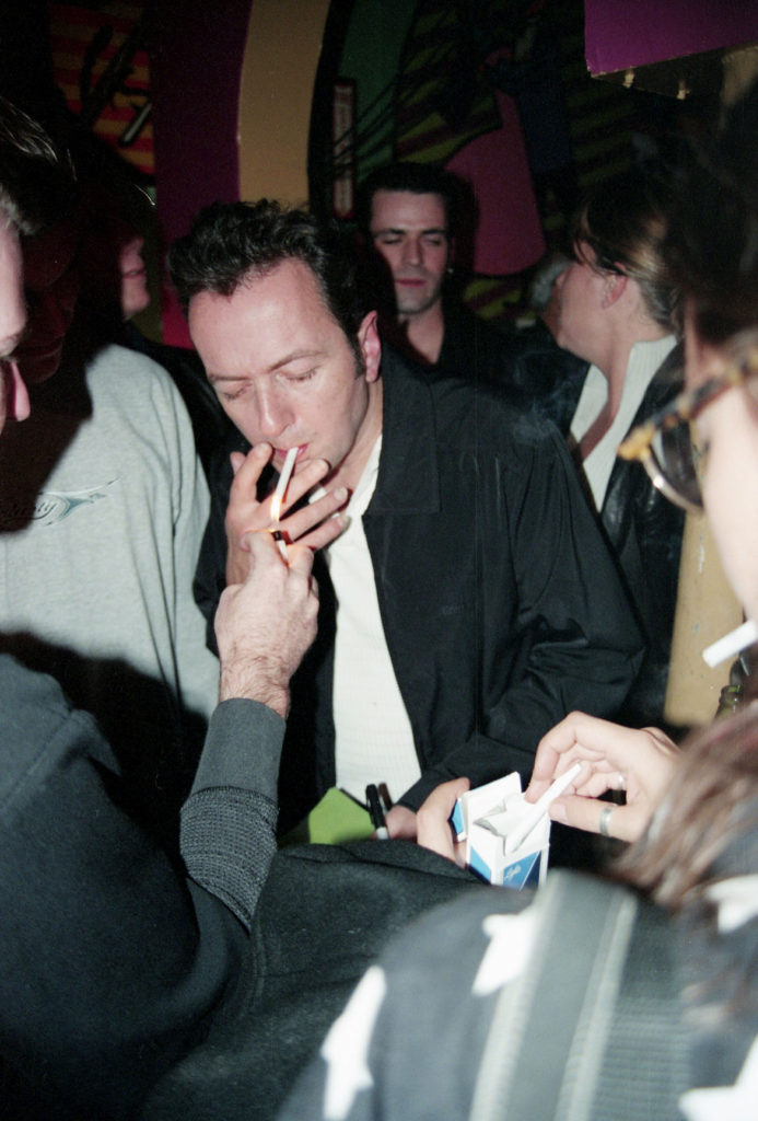 """= Jay Hale's photo of Joe Strummer during the Mighty Mighty Bosstones """"Live From The Middle East"""" record release party Upstairs, Oct. 20, 1998. (Courtesy)"""