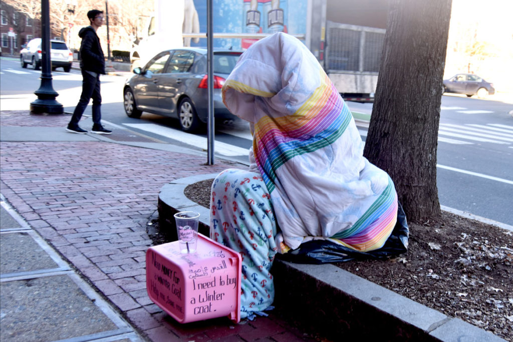 """Need money for a winter coat. Help Me. Save me."" Harvard Square, Cambridge, Jan. 26, 2018. (Greg Cook)"