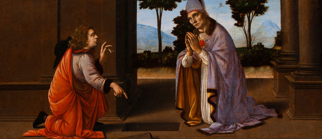 "Attributed to Lorenzo di Credi, ""A Miracle of Saint Donato of Arezzo,"" (about 1479-85), painting on panel. (Courtesy)"