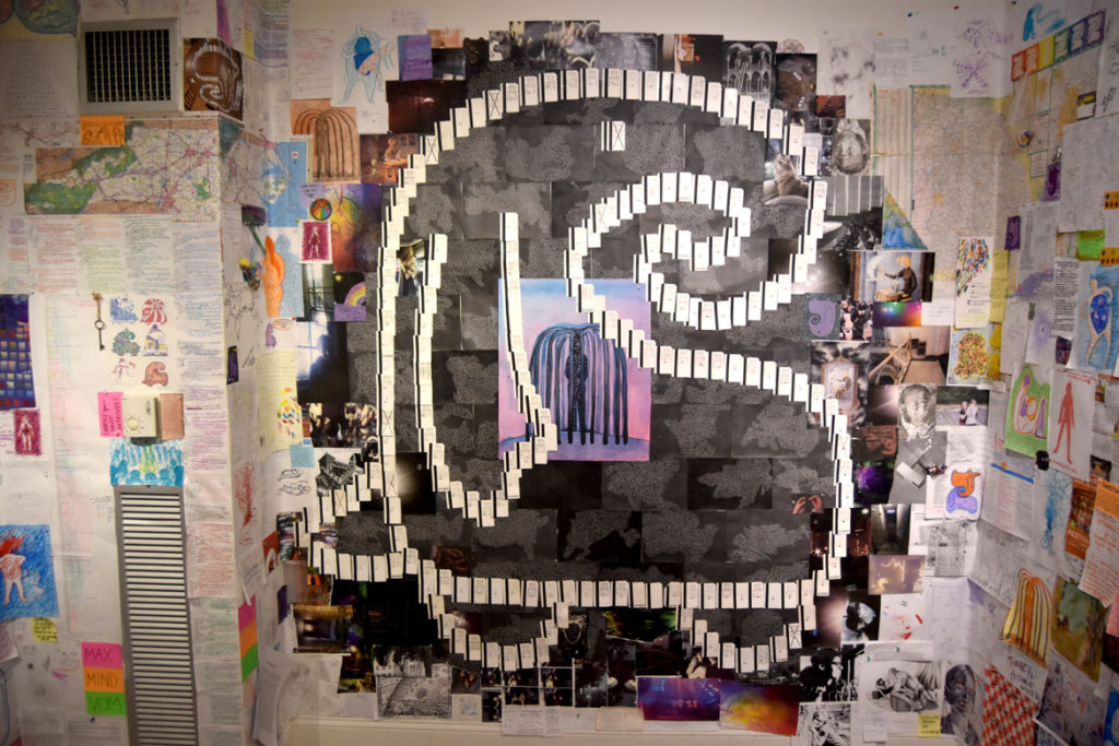 """Sarina Mitchel's """"Maximalist Mind Vomit"""" at AS220, Jan. 23, 2018. (Greg Cook)"""