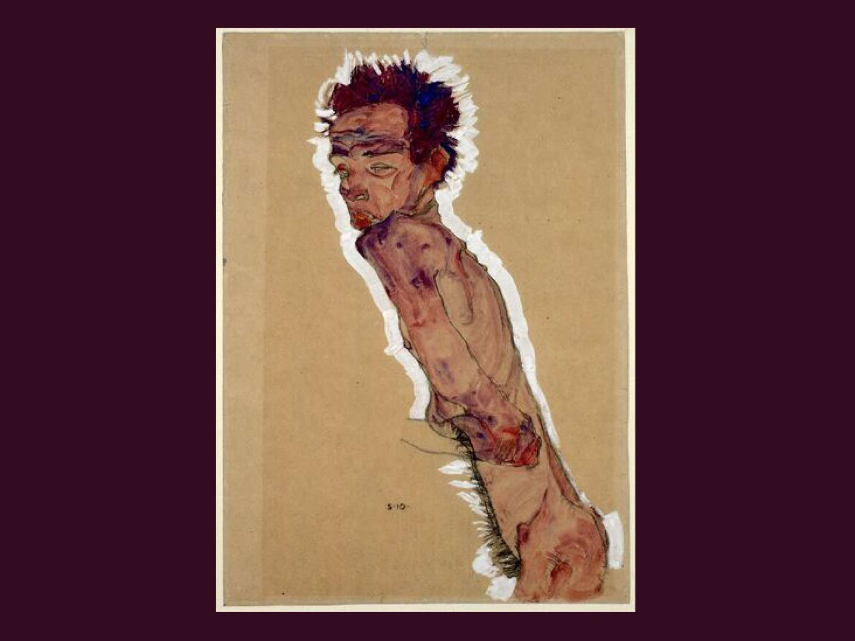 "Egon Schiele, ""Nude Self-Portrait,"" 1910. Watercolor and black chalk on wrapping paper. (Courtesy the Albertina Museum, Vienna)"