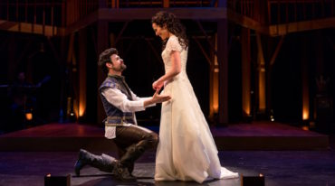"George Olesky as Shakespeare and Jennifer Ellis as Viola in ""Shakespeare In Love."" (Nile Hawver/Nile Scott Shots)"