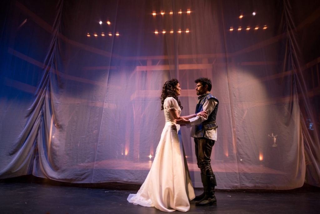 "Jennifer Ellis as Viola and George Olesky as Shakespeare in ""Shakespeare In Love."" (Nile Hawver/Nile Scott Shots)"