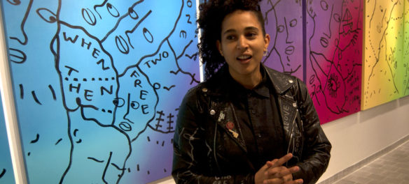 Shantell Martin at Northeastern University's Gallery 360. (Greg Cook)