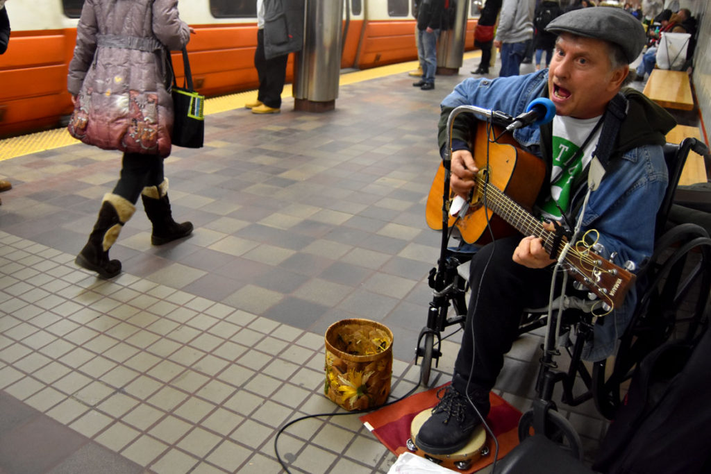 Musician performing in Downtown Crossing MBTA Station, Jan. 26, 2018. (Greg Cook)