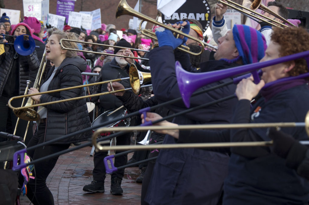 BABAM (Boston Area Brigade of Activist Musicians) performs at the Cambridge/Boston Women's March at Cambridge Common, Jan. 20, 2018. (Greg Cook)