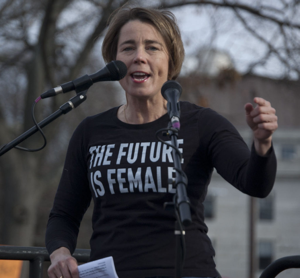 Massachusetts Attorney General Maura Healey speaks at the Cambridge/Boston Women's March at Cambridge Common, Jan. 20, 2018. (Greg Cook)