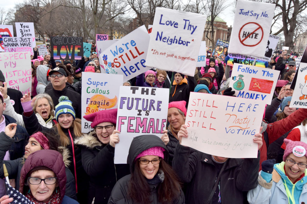 Cambridge/Boston Women's March at Cambridge Common, Jan. 20, 2018. (Greg Cook)
