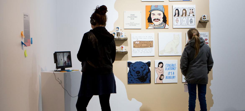 """Chicago prankster artist Derek Erdman's work on view in """"Culture Hustlers"""" at the Boston Center for the Arts. (Melissa Blackall)"""
