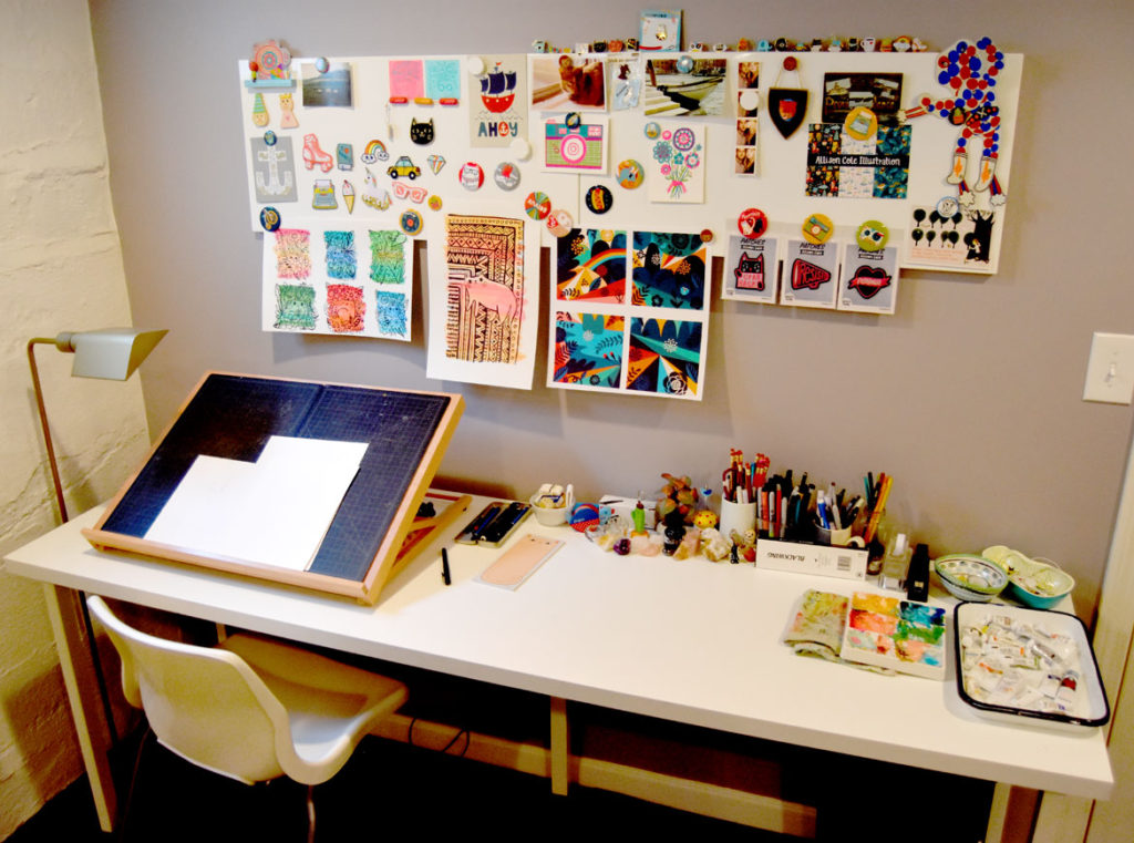 Allison Cole's studio in her Providence home. (Greg Cook)