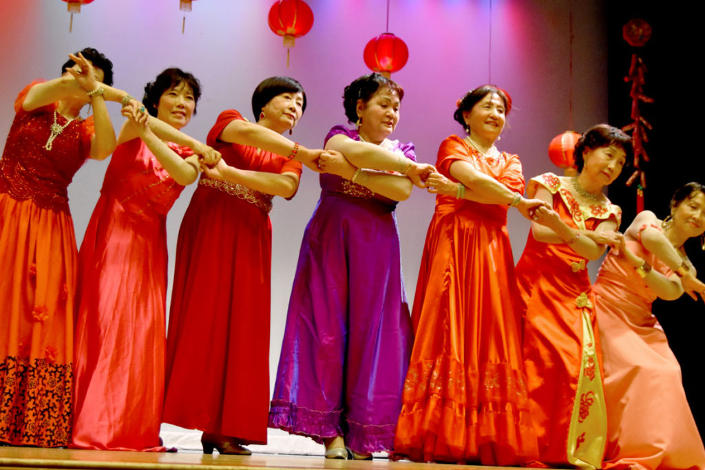 Fashion show dance at Chinese Lunar New Year Celebration at Malden High School, Feb. 10, 2018. (Greg Cook)