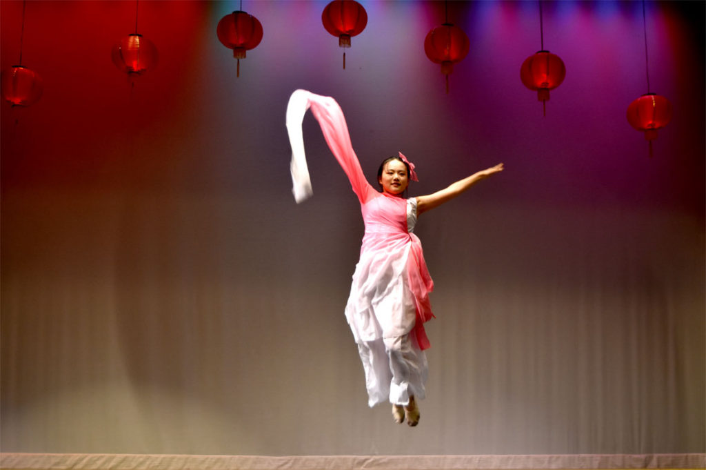 Sleeve dance at Chinese Lunar New Year Celebration at Malden High School, Feb. 10, 2018. (Greg Cook)