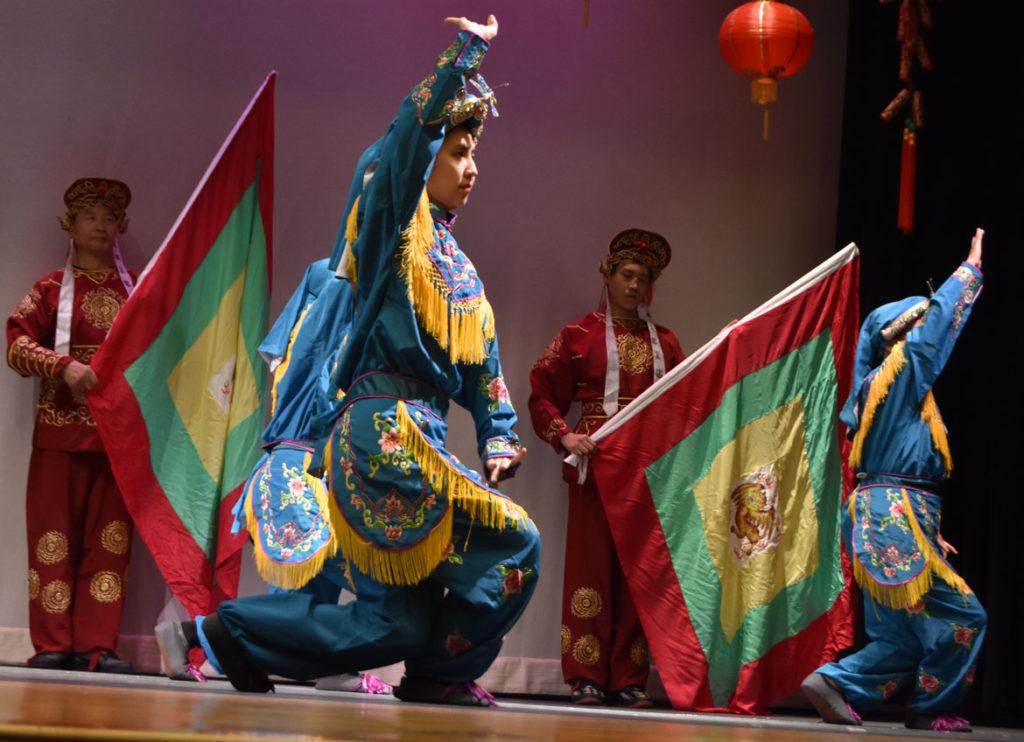 Harvard Alumni Peking Opera Amateur Group at Chinese Lunar New Year Celebration at Malden High School, Feb. 10, 2018. (Greg Cook)