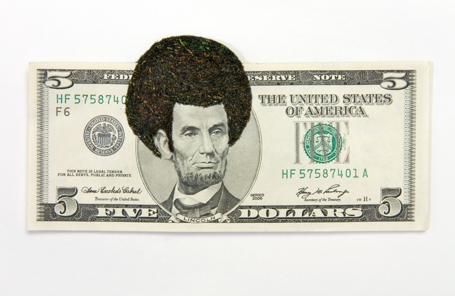 "Sonya Clark, ""Afro Abe II,"" 2010, paper, thread. (Courtesy of the artist)"