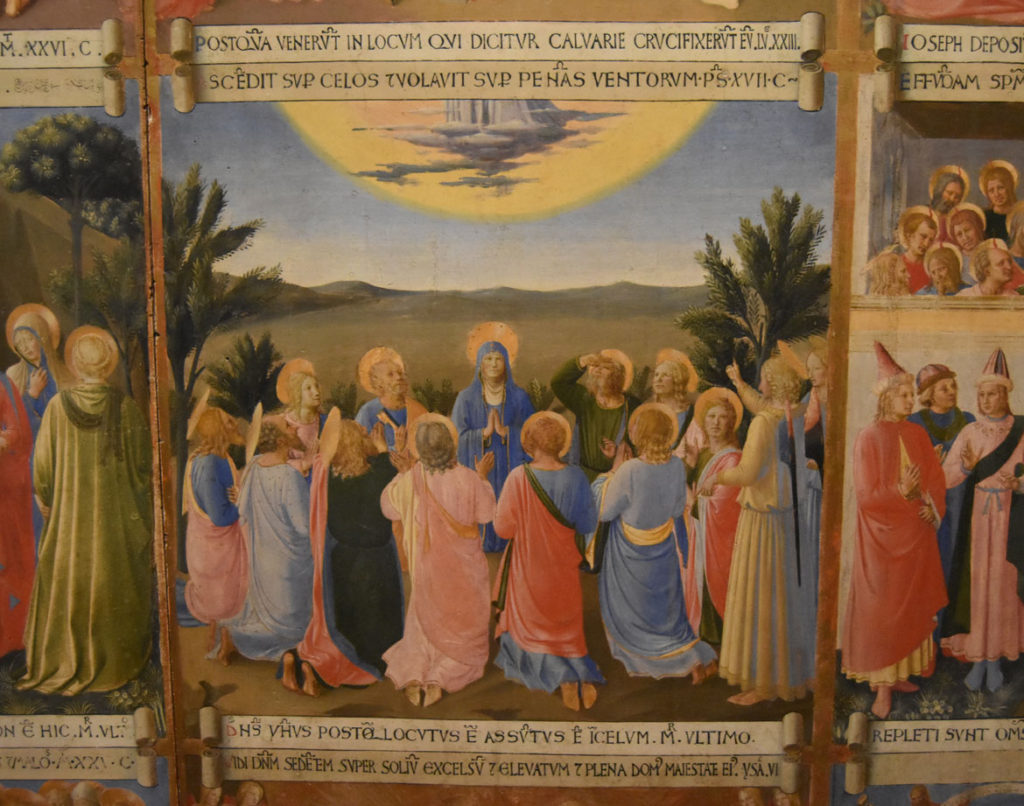 "Christ ascends into Heaven (see those feet at the top) in ""Fra Angelico ""One panel from the Armadio deli Argenti (silver chest),"" 1450–52. (Greg Cook)"