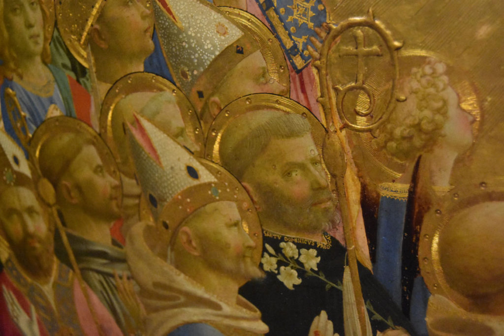 "Notice the tiny, raised plaster details like this staff in Fra Angelico ""Paradise,"" 1431–35. (Greg Cook)"