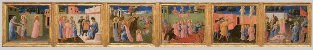 "Fra Angelico and Zanobi Strozzi ""Six panels from the Annalen predella: Scenes fro the Life of Cosmas and Damian,"" about 1437–40. (Courtesy Gardner Museum)"