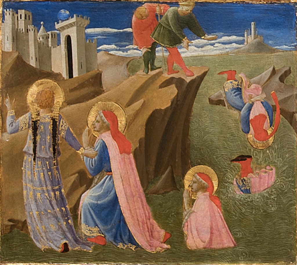 """Saints Cosmas and Damian Rescued by an Angel"" from Fra Angelico and Zanobi Strozzi ""Six panels from the Annalen predella: Scenes fro the Life of Cosmas and Damian,"" about 1437–40. (Courtesy Gardner Museum)"