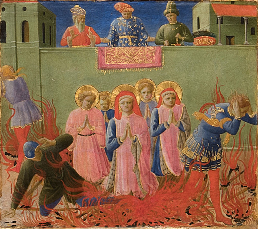 """Saints Cosmas and Damian Burned Alive"" from Fra Angelico and Zanobi Strozzi ""Six panels from the Annalen predella: Scenes fro the Life of Cosmas and Damian,"" about 1437–40. (Courtesy Gardner Museum)"