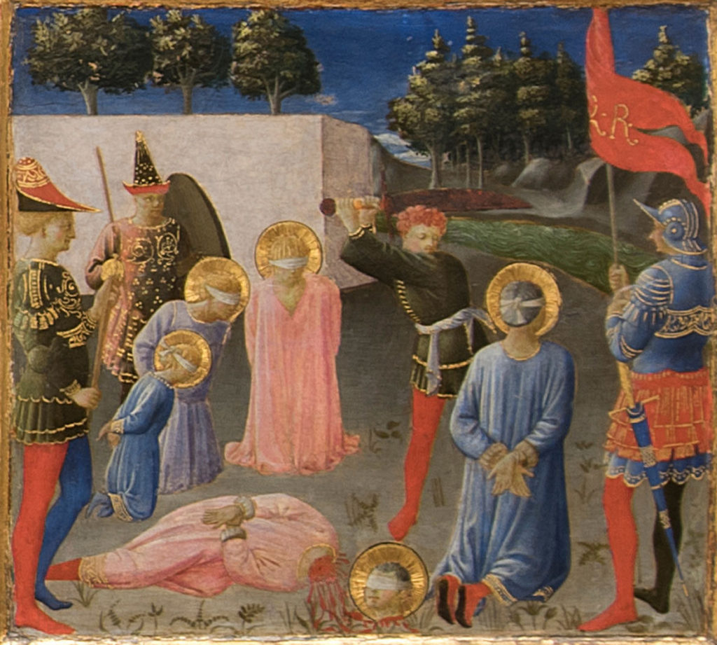 """The Martyrdom of Saints Cosmas and Damian"" from Fra Angelico and Zanobi Strozzi ""Six panels from the Annalen predella: Scenes fro the Life of Cosmas and Damian,"" about 1437–40. (Courtesy Gardner Museum)"