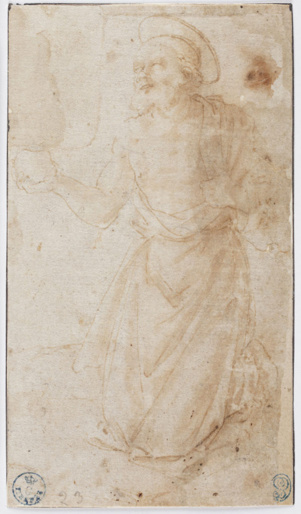 "Fra Angelico ""The Penitent Saint Jerome,"" Pen and ink and wash on white paper, about 1430. (Courtesy of Gardener Museum)"