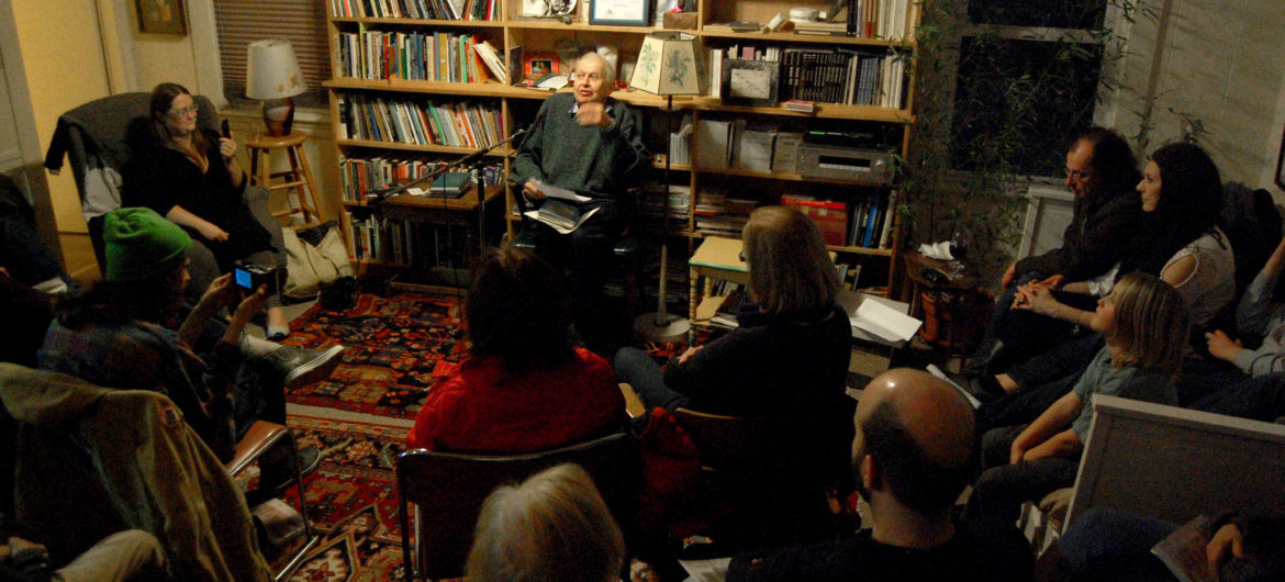 Gerrit Lansing reads at the Gloucester Writers Center, Feb. 27, 2016. (Greg Cook)