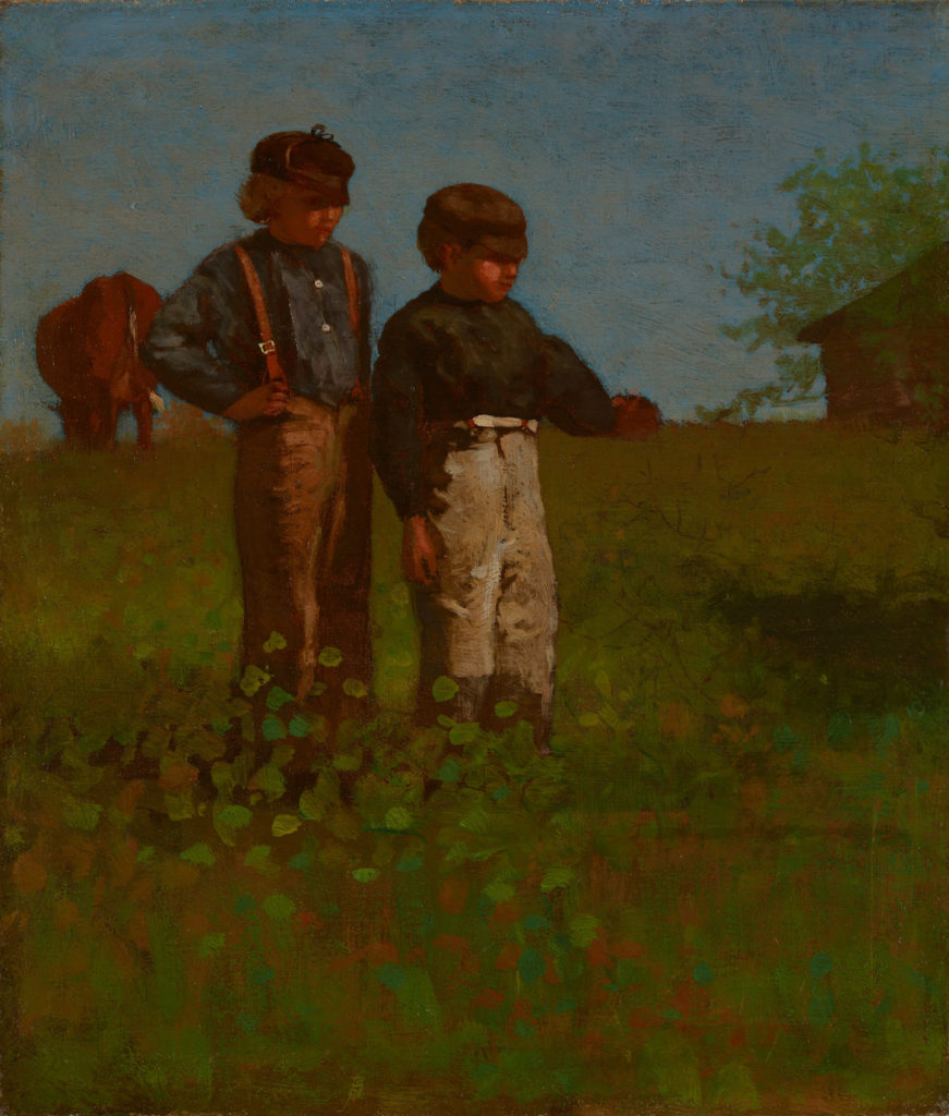 """Winslow Homer's 1874 oil painting """"Young Farmers (Study for Weaning the Calf."""" (Portland Museum of Art)"""