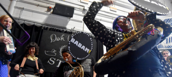 Babam performs at the HONK! Festival 2017 Volunteer Appreciation Pizza Party at Aeronaut in Somerville, Feb. 18, 2018. (Greg Cook)