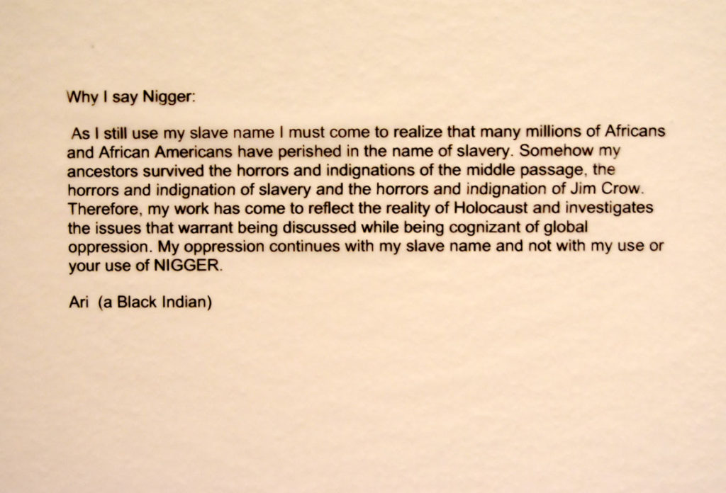 "Ari's statement at Salem State University's gallery: ""Why I Say Nigger."" (Greg Cook)"