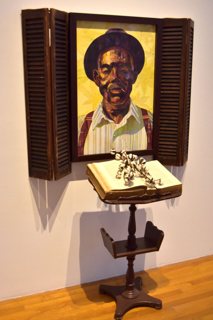 """Ekua Holmes, """"Southern Idyll--Root of Jesse,"""" 2012, collage on canvas. (Greg Cook)"""