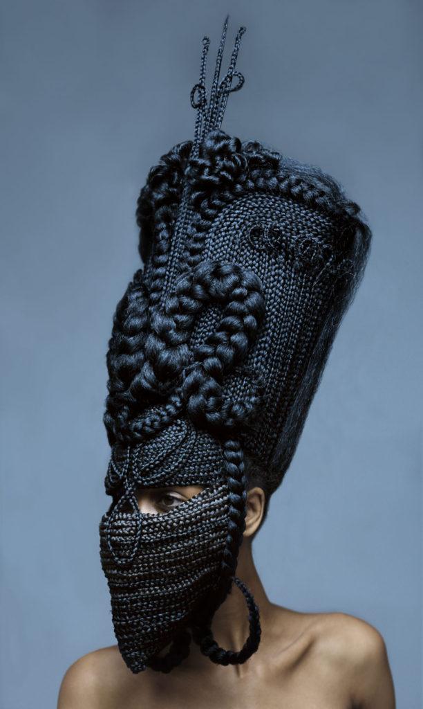 "Delphine Diallo ""Highness – Hybrid 1,"" 2011, collaboration with Joanne Petit-Frére, photograph on vinyl. (Courtesy MassArt)"