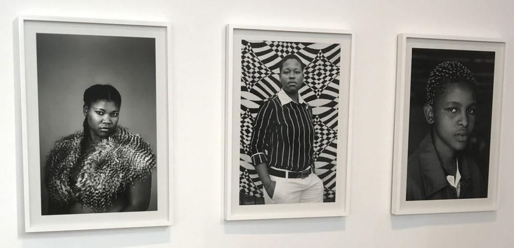 "Zanele Muholi (from left) ""Charmain Carroll, Parktown, Johannesburg,"" 2013; ""Bakhambile Skhosana, Natalspruit,"" 2010; and ""Zukiswa Gaca, Makhaza Khayelitsha, Cape Town,"" 2010, gelatin silver prints. (Courtesy MassArt)"