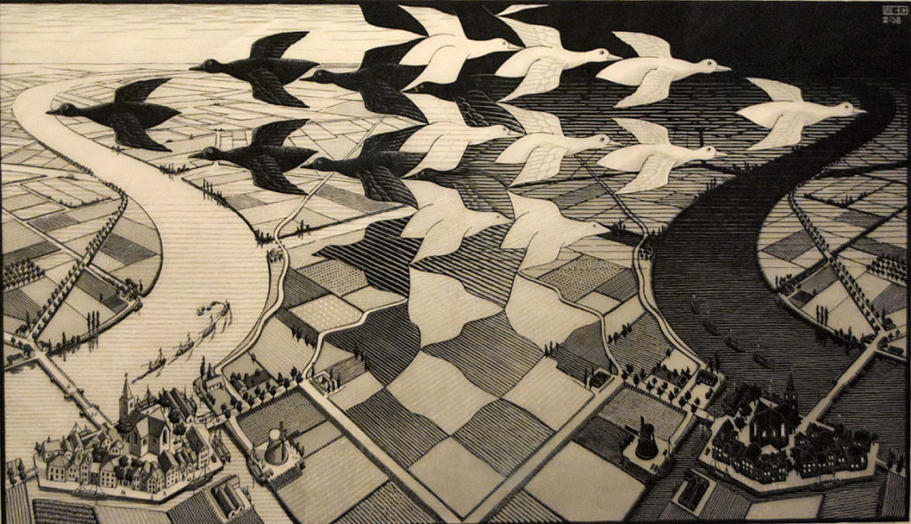 "M.C. Escher ""Day and Night"" 1938 woodcut. (Greg Cook)"