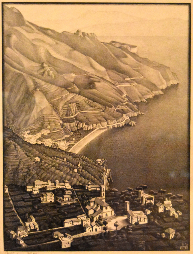 "M.C. Escher ""Ravello and the Coast of Amalfi,"" 1931 lithograph. (Greg Cook)"