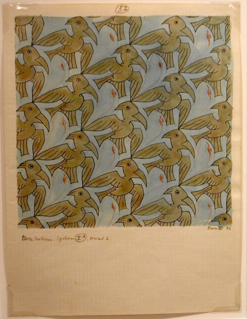 """M.C. Escher """"Frog/Bird (Symmetry drawing 52)"""" c. 1942 pen, ink and watercolor. (Greg Cook)"""