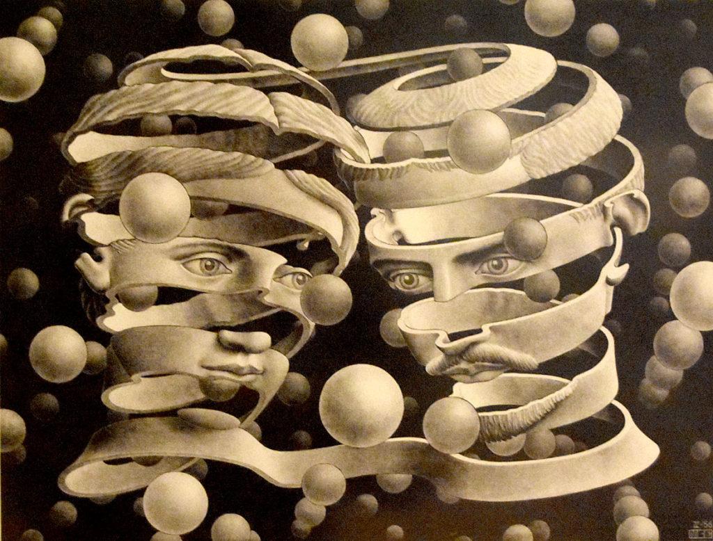 """M.C. Escher """"Bond of Union"""" 1956 lithograph. (Greg Cook)"""