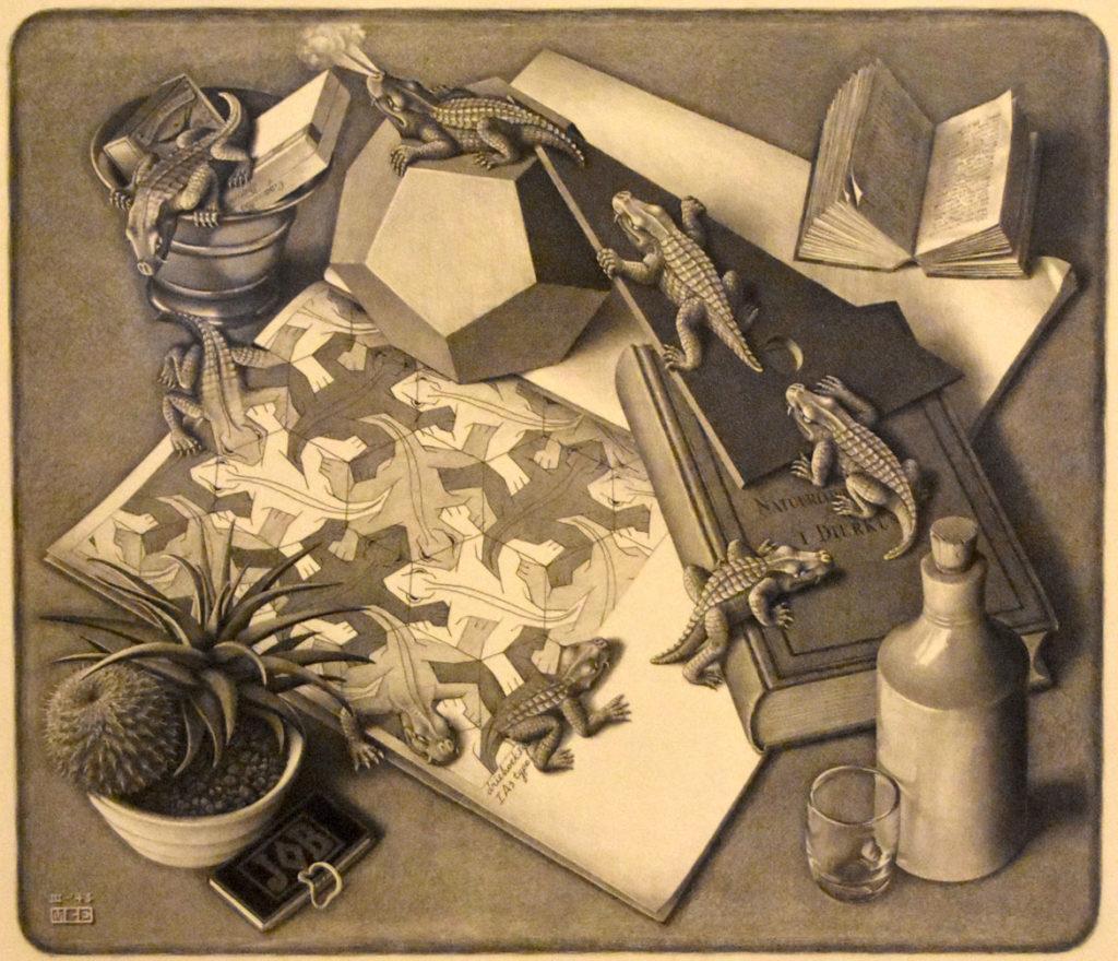 """M.C. Escher """"Reptiles"""" 1943 lithograph. (Greg Cook)"""